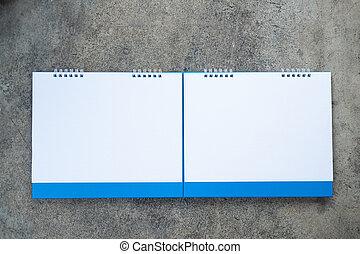 vuoto, scrivania, spirale, calendario, due, carta
