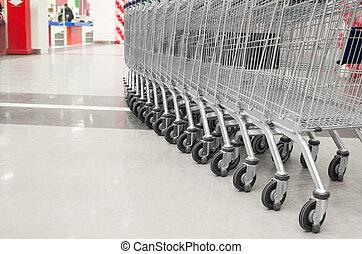vuoto, supermercato, carrello, fila
