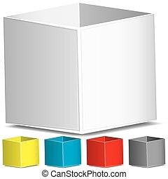 vuoto, vettore, 3d, illustrazione, scatole