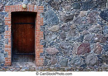 wall., pietra, porta
