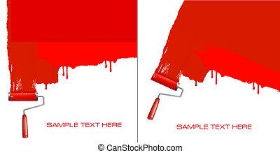 wall., pittura, rullo, bianco rosso