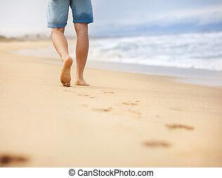 wallking, spiaggia, uomo