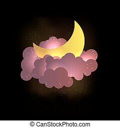 wallpaper., nubi, luna, dolce, stars., fare un sogno