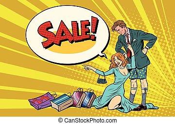 wants, moglie, devastato, vendita, senza, marito, pantaloni
