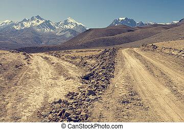 wasteland., incrocio, arido