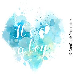 watercolored, cuore, bambino, genere, rivelare