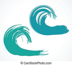 wave., vettore, due, illustrazione
