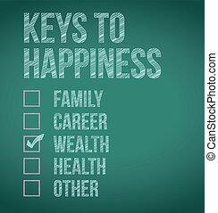 wealth., chiavi, disegno, felicità, illustrazione