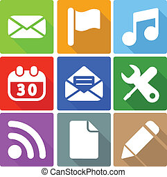 web, 3, set, icone