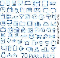 web, 70, pixel, collezione, icone