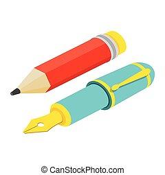 web, anche, infographics., fontana, isometrico, utile, penna, matita, domanda, vettore, bianco, disegno, fondo., illustration., interfaccia