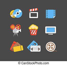 web, appartamento, icone, cinema, collezione, disegno
