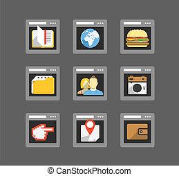 web, appartamento, icone, windows, collezione, colorare, browser