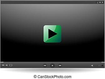 web, apps, mobile, illustrazione, giocatore, vettore, video, sagoma, interfaccia