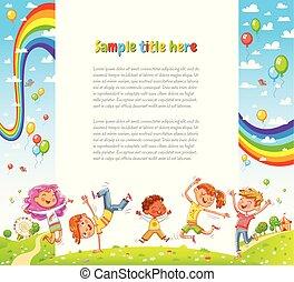 web, bambini, disegno, pagina, festa