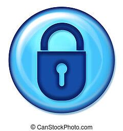 web, bottone, assicurare