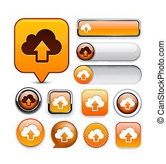 web, bottone, high-detailed, sincronizzazione, collection.