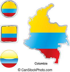 web, bottoni, forme, bandiera, mappa, colombia