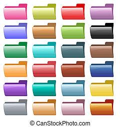 web, cartella, icone, colori, assortito