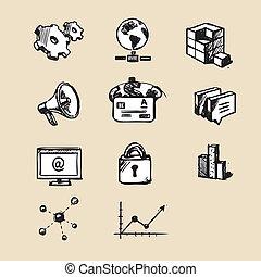 web, collezione, icone