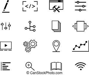 web, concetto, contorno, moderno, icone, collezione, linea, interfaccia, minimo