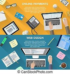 web, concetto, disegno, pagamenti, linea