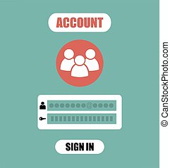 web, conto, assicurare, forma, appartamento, mobile, managment, illustratiom, membro, luogo, vettore, ui, login, disegno, login, app, elemento, pagina