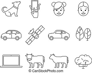 web, contorno, collezione, icone