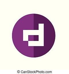 web, d, viola, astratto, -, colorare, vettore, lettera, icona