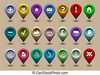 web, differente, collezione, icone