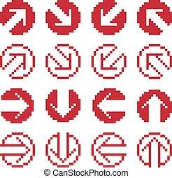 web, differente, grafico, elements., icone, isolato, direzione, collezione, simplistic, vettore, icons., digitale, 8bit, segni, pixel, frecce