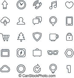 web, differente, icone, isolato, collezione, bianco