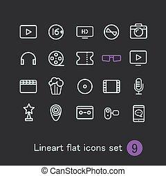 web, differente, icone, media, clip-art, moderno, domanda, vettore, collection.