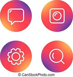 web, differente, icone, semplice, collection., domanda, pictograms, disegno, lineart
