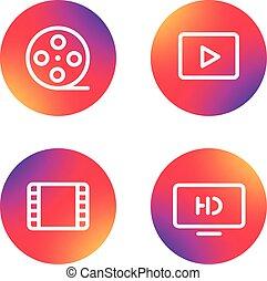 web, differente, icone, semplice, collection., domanda, pictograms, video, lineart