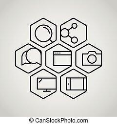 web, differente, icone, set., collezione, appication, interfaccia, lineart, o