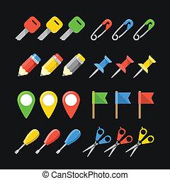 web, differente, icone ufficio, colorare, collezione, roba