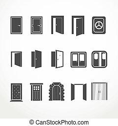 web, differente, porte, collezione, icone