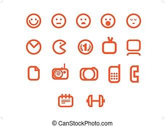 web, differente, set, icone