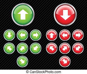 web, direzione, set, aqua, redigere, qualsiasi, bottoni, vettore, facile, arrows., size., 2.0, style.