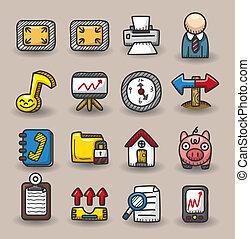web, disegnare, mano, collezione, icone