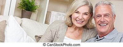 web, donna, &, panorama, coppia, anziano, felice, bandiera, uomo