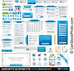 web, elementi, 2, estremo, collezione, disegno