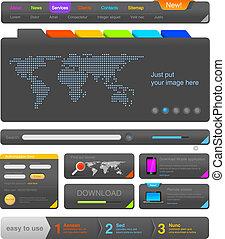 web, elementi, kit strumenti, disegno, ui, pacco