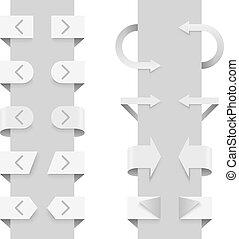 web, elements., frecce, slider, vettore, sagoma