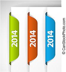 (web), etichette, /, bordo, vettore, 2014, adesivi, pagina