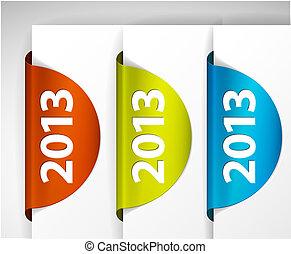 (web), etichette, /, bordo, vettore, adesivi, rotondo, 2013, pagina