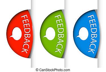 (web), feedback, linguette, pagina, bordo, rotondo