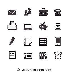 web, finanziario, ufficio, icone affari, lavoro, posto lavoro