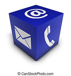 web, icona, cubo, ci, contatto
